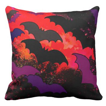 Bats In Flight Throw Pillow