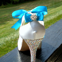 Blue Wedding Shoes Tinkerbell Blue Heels with by TheCrystalSlipper