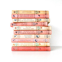 Vintage Landmark Book Collection - School Learning Books - Red and Tan Book Collection
