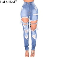 LALA IKAI Plus Size 2XL 3XL Ripped Jeans Women Blue Hole Mom Jeans Ladies Destroyed High Waist Skinny Jeans Femme KWA0490-45