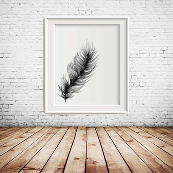 Black and White Feather Printable Art, Art Printable, wall decor, gallery wall decoration, home decoration