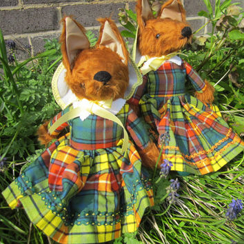 Toy Chestnut Furry Lady Foxes Dressed in Scottish Buchanan Tartan  Green Felt Bonnet