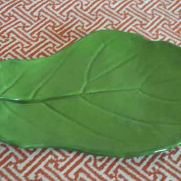 Green Fig Tree Leaf Serving or Decorative Tray - Handmade Pottery