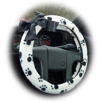 black and white Paw print fleece car Steering wheel cover with Black Bow for the animal pet lover