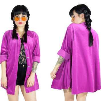 vintage 90s VIVID pink velvet shirt MAGENTA ultra draped velour button up top pastel grunge duster jacket club kidd oversized blouse medium