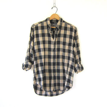Vintage buffalo check shirt. tan and black checkered flannel. boyfriend flannel. Grunge shirt