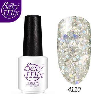 Sexy mix Popular Silver Glitter Gel Nail Varnish 1 Bottle 7ml Shining Nail Gel HOT 12 Colors UV/LED Lamp Cured Nail Gel Polish