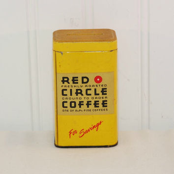 Vintage Red Circle Coffee Metal Advertising Bank (pre-1998) Bank Collectible, Advertising Collectible, Coffee, A & P, Kitchen Decor, Gift