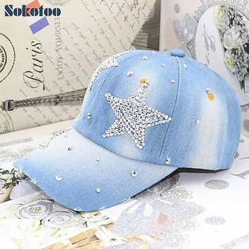 Sokotoo Women's fashion five point stars rhinestone baseball cap Lady's casual denim hat Free shipping