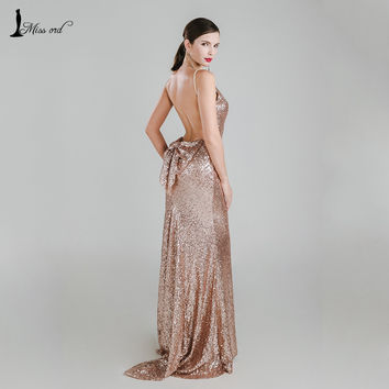 Missord 2017 Sexy halter Bow V-neck party dress sequin maxi dress FT3995