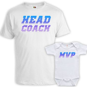 Matching Father And Baby Father Son Matching Shirts Dad And Daughter Gifts Matching Family Outfits Head Coach MVP Baby Bodysuit MAT-705-706