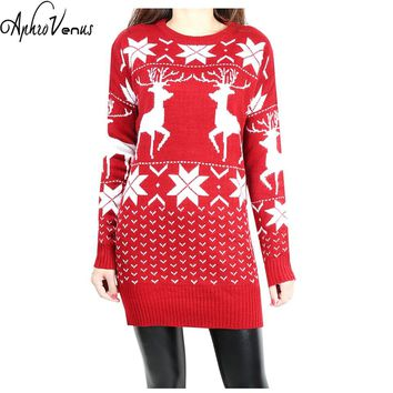 Women Sweater Christmas Long Knitted Wool Sweater Women Red Deer&Maple Leaf Pattern Snowflake Printed long SLeeve Crochet Mujer