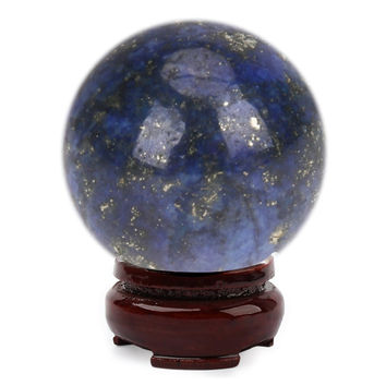 20mm Natural Lapis Lazuli Crystal FeiShui Ball Healing Sphere Large CrystalHealing Stone + Stand DIY Home Decoration Accessory