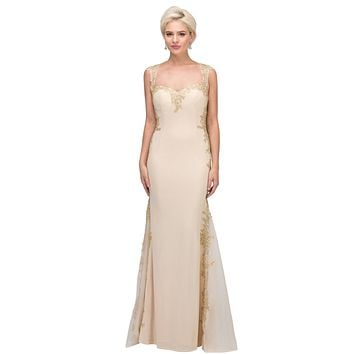 Appliqued Sweetheart Neckline Long Formal Dress Champagne