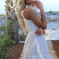 Never Wait White Eyelet Ruffle Dress