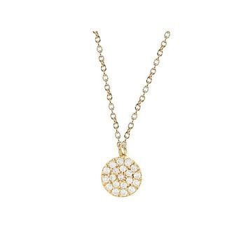 "Mini Sparkling Pave Cz Disc Necklace in Sterling Silver dipped in Gold, 16"" + 2"""