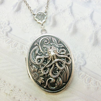 Silver Locket Necklace - The ORIGINAL Octopus's Garden by the Sea - SILVER OCTOPUS - BirdzNbeez - Valentine's Day Birthday Best Friend Gift