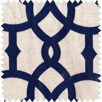 Navy Fretwork Fabric By The Yard   Cotton Poly Blend