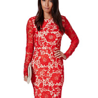 Red Open Back Lace Floral Pattern Midi Dress