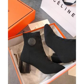 Hermes Volver 60 Ankle Boot In Knit Black - Best Online Sale