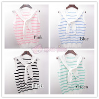 4 Colors Sailor Stripes Sleeveless Top SP152255 from SpreePicky