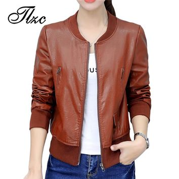 TLZC 2018 Women Long Sleeve Basic Coats PU Leather Thin Slim Short Outerwear Plus Size M-4XL New Fashion Pilot Bomber Jacket