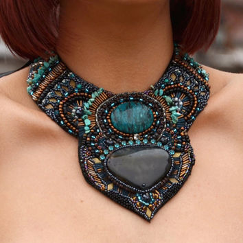 Morrocan Door Ani Jewelry Designs Bead Embroidery  Bib Necklace Bronze Dark Blue Agate Gem Stone