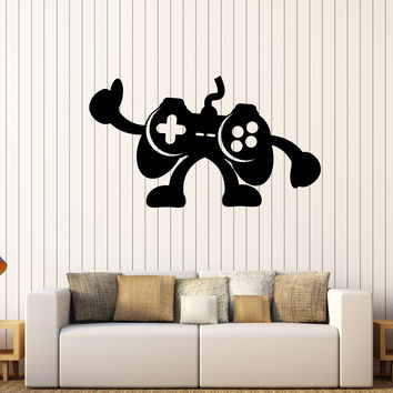 Vinyl Wall Decal Joystick Gamepad Teen Room Video Game Stickers Unique Gift (344ig)