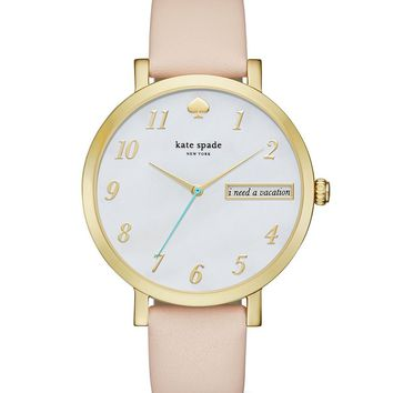 kate spade new york Monterey Leather Strap Stainless Steel 3 Hand Analog Watch | Dillards