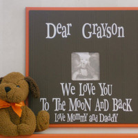 Orange and Brown Nursery Decorations Baby Gift Wood Picture Frame Sign -  PERSONALIZED BABY NAME