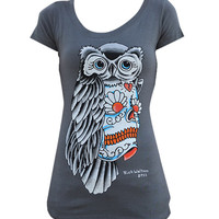 Owl Sugar Skull Scoop Neck By Rick Walters