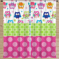Owls Window Curtains (Two Panels) - Bright Owls Bedroom Drapes - Custom Kids' Curtains - Girls' Pink Owl Drapery