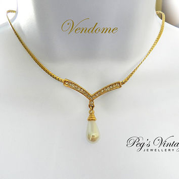Signed Vendome Gold Toned Choker//Necklace Faux Pearl and Crystals, Vintage Bridal Jewelry