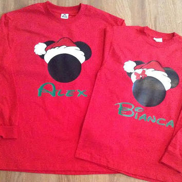 Free/Fast Shipping for US Christmas  Mickey and Minnie Santa Together Since Couples  long sleeve T-Shirts