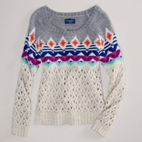 AE Fair Isle Open Stitch Sweater | American Eagle Outfitters