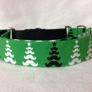 "Merry Mustache Tree Green Martingale or Quick Release Collar 5/8"" Quick Release 3/4"" 1"" Martingale Collar, 1.5"" Martingale Collar 2"""