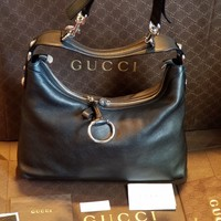 NWT Authentic GUCCI HANDBAG-NWT-BLACK BAG LEATHER 100/% EXTRA DOUBLE STRAP