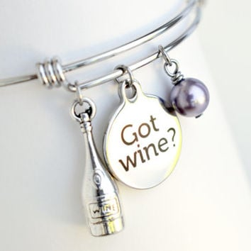 Wine lover bracelet, wine charm bangle bracelet, birthstone bracelet, stainless steel charm bracelet, wine lover, gift for girlfriends