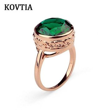VONG2W Fashion KOVTIA Brand Green Stone Ring Genuine Austrian Crystal Jewelry Engagement Wedding Bands Gold Color KY95832