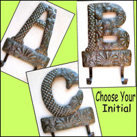 Metal Monogram Towel Hook. Initial Metal Wall Hook - Recycled Steel Drum