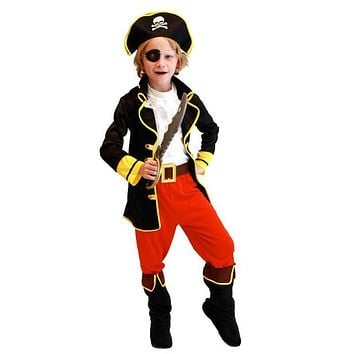 Party Pirate Boy girl Clothing Halloween Costume Kids Children Christmas Costume for Capain Jack Cosplay Z290 BM88