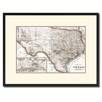 Texas Vintage Sepia Map Canvas Print, Picture Frame Gifts Home Decor Wall Art Decoration