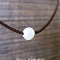 Simple One Pearl Necklace - genuine pearl, natural brown leather cord, pure sterling silver