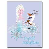 Elsa and Olaf - Crystal Snowflakes Postcard