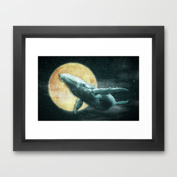 Fantasy Humpback Whale Flying to The Moon Framed Art Print by Nirvana.K