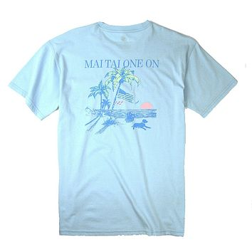Mai Tai One On Tee in Sky Blue by Southern Proper