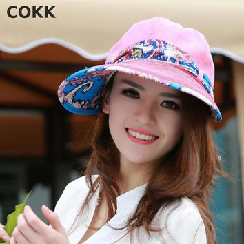 COKK Summer Hats For Women Wide Large Brim Sun Uv Protection Beach Hat With Big Bow Foldable Style Fashion Women's Visor Cap