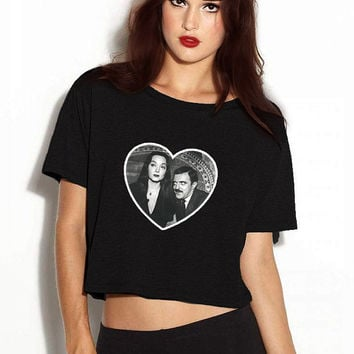 Addams Family Morticia and Gomez Heart Vneck Tshirt - Black or White