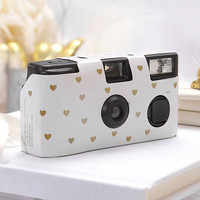 Single Use Camera - Ivory with Gold Hearts