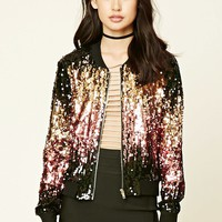 Two-Tone Sequin Bomber Jacket
